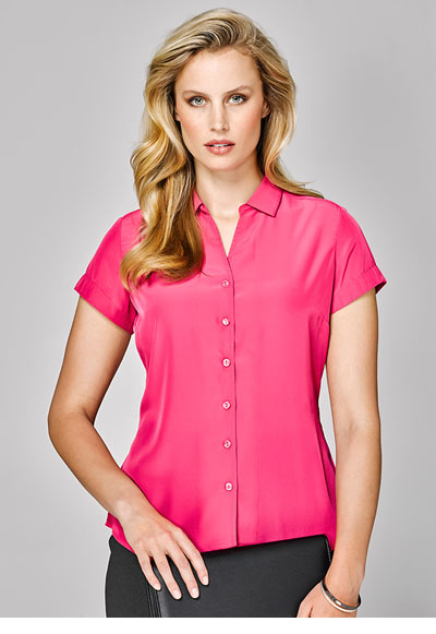 40412 Solanda Ladies Plain S/Sleeve Shirt