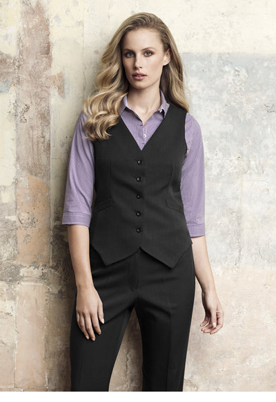 50111 Ladies Peaked Vest with Knitted Back