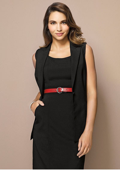 64014 Ladies Longline Sleeveless Jacket